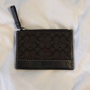 Coach brown leather coin purse